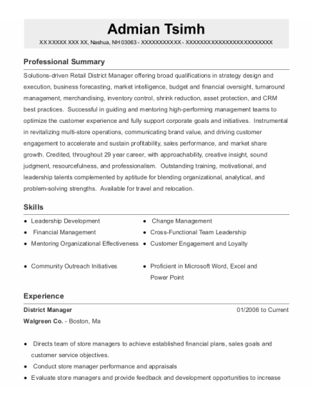 District Manager resume example New Hampshire