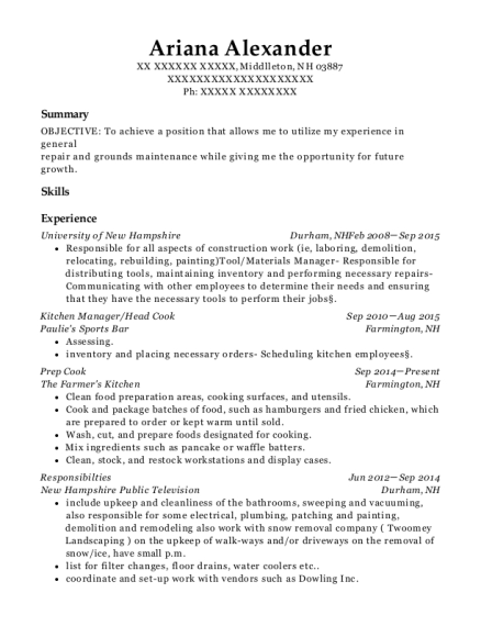 Kitchen Manager resume example New Hampshire
