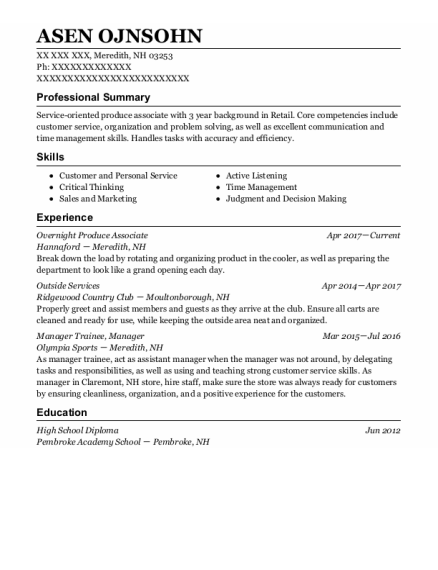 Outside Services resume template New Hampshire