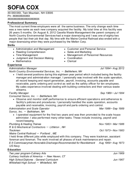 Administration Manager resume template New Hampshire