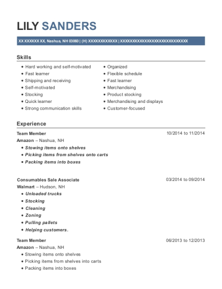 Team Member resume example New Hampshire