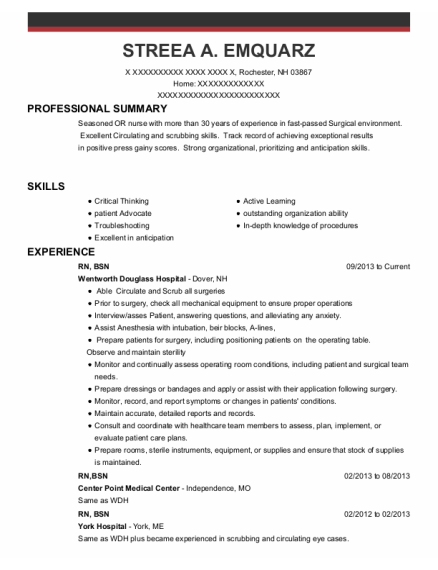 Rn Bsn resume example New Hampshire