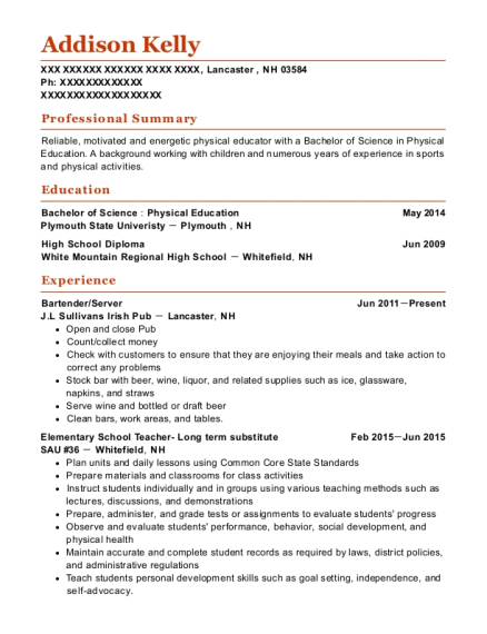 Bartender resume format New Hampshire
