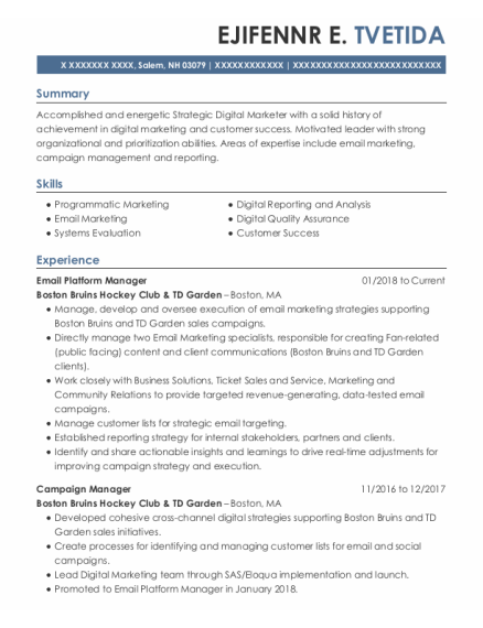 Campaign Manager resume sample New Hampshire