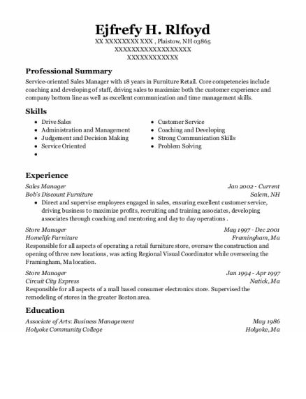 Sales Manager resume sample New Hampshire