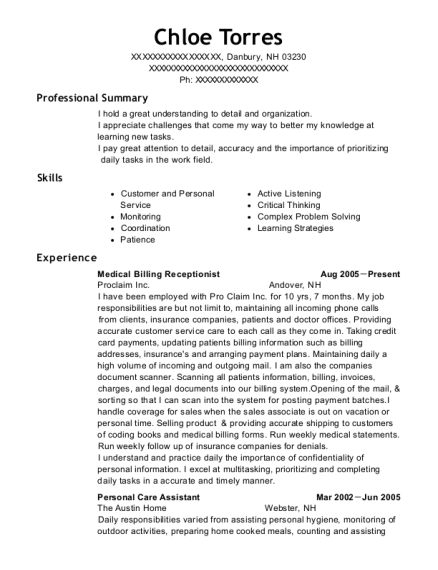 Medical Billing Receptionist resume template New Hampshire