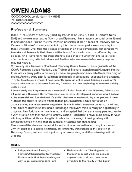 Founder resume format New Hampshire