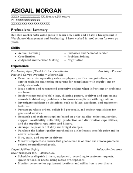 Purchasing Agent resume example New Hampshire