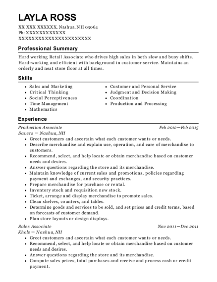 Production Associate resume sample New Hampshire