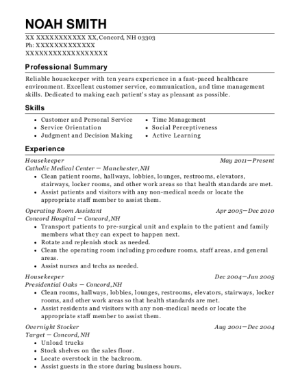 Housekeeper resume template New Hampshire