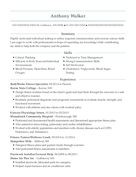 BodyWorks Fitness Specialist resume format New Hampshire