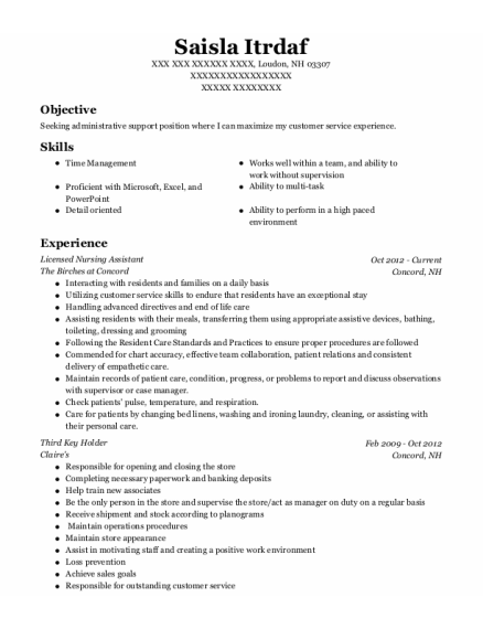 Licensed Nursing Assistant resume example New Hampshire