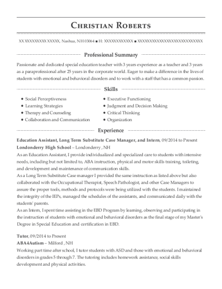 Education Assistant resume example New Hampshire