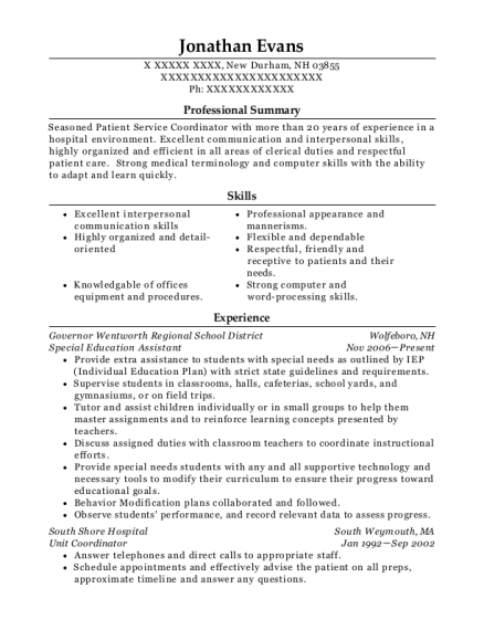 Special Education Assistant resume sample New Hampshire