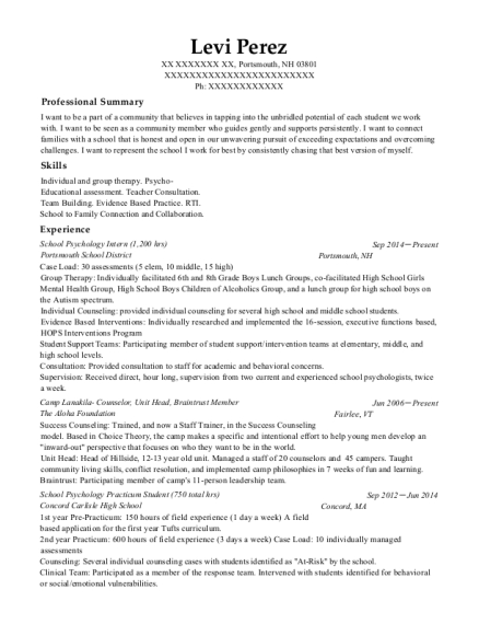 the suicide crisis center intern resume sample