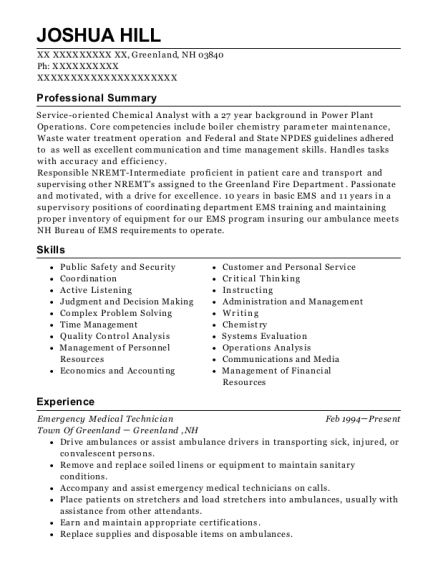 Emergency Medical Technician resume template New Hampshire