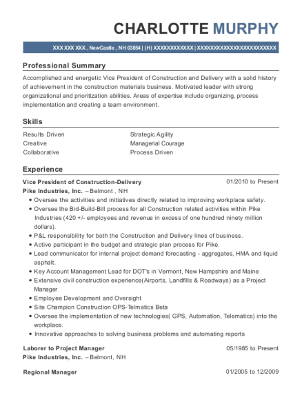 Vice President of Construction Delivery resume format New Hampshire