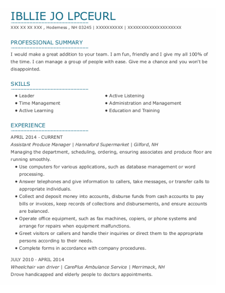 Assistant Produce Manager resume example New Hampshire