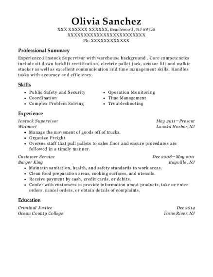 Instock Supervisor resume sample New Jersey
