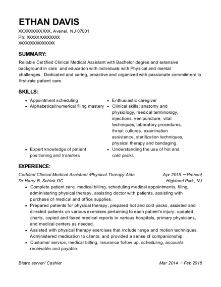 Certified Clinical Medical Assistant resume template New Jersey