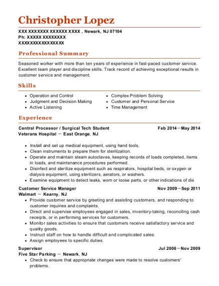 Central Processor resume example New Jersey