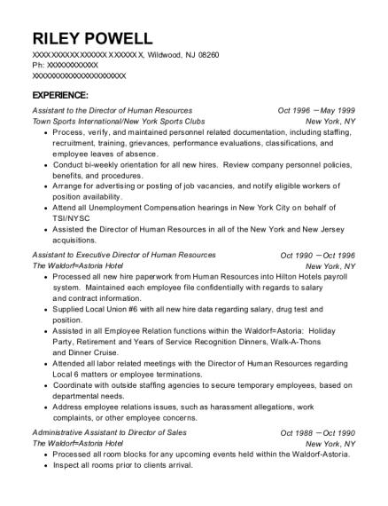 Assistant to the Director of Human Resources resume format New Jersey