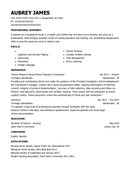 Clinical Research Nurse resume example New Jersey