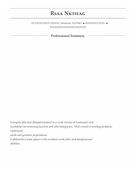 Student Physical Therapist resume format New Jersey