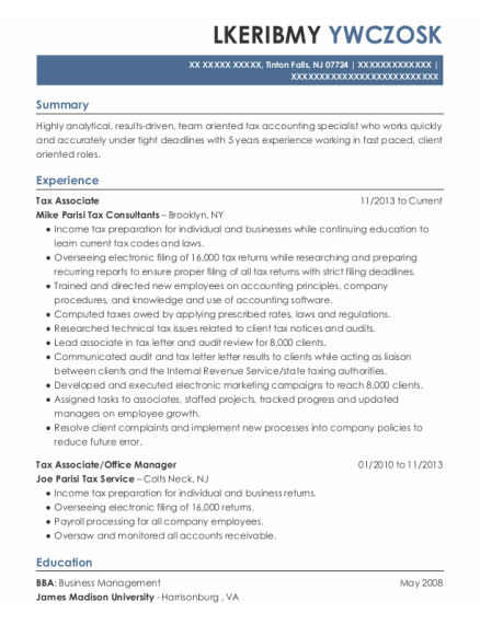 Tax Associate resume format New Jersey