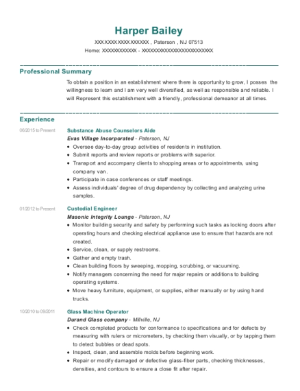 Substance Abuse Counselors Aide resume template New Jersey