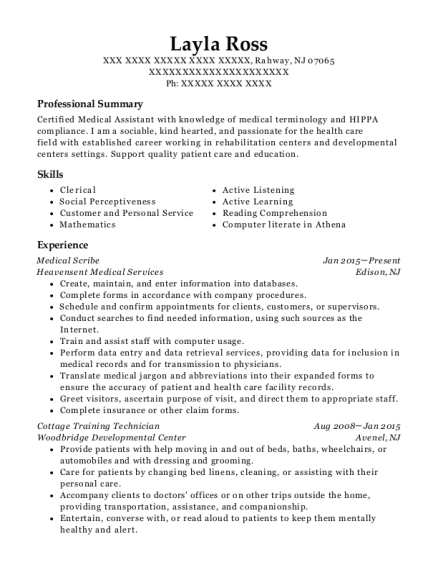 Medical Scribe resume example New Jersey