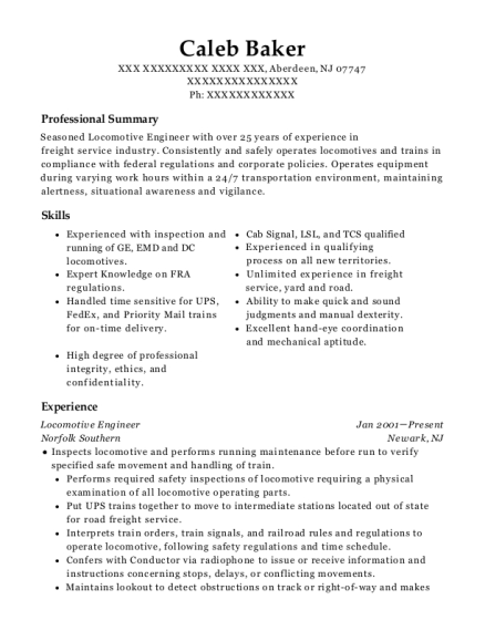 Locomotive Engineer resume example New Jersey