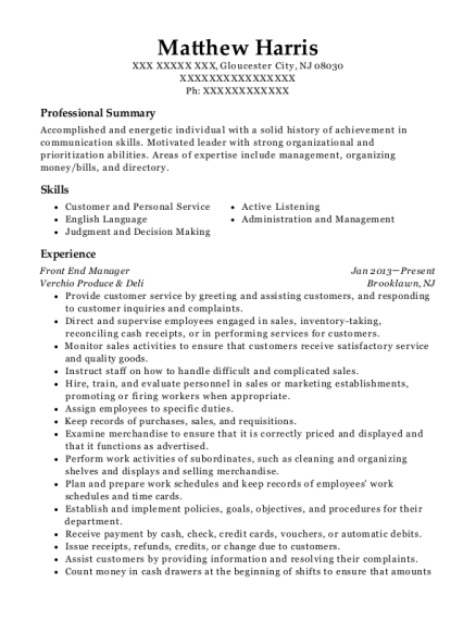Front End Manager resume example New Jersey