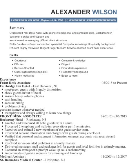 Front Desk Associate resume sample New Jersey