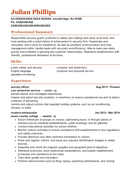 secuity officer resume sample New Jersey