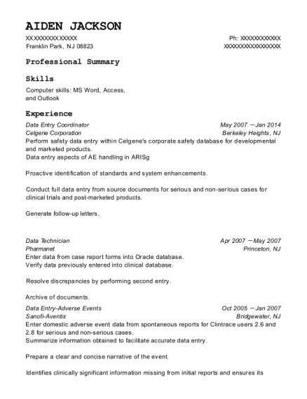 Data Entry Coordinator resume sample New Jersey