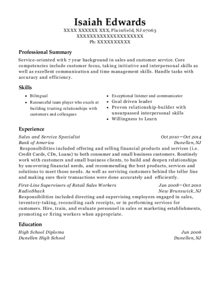 Sales and Service Specialist resume sample New Jersey