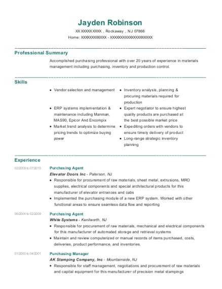 Purchasing Agent resume format New Jersey