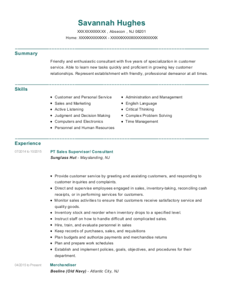 PT Sales Supervisor resume format New Jersey