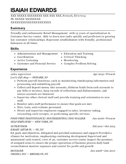 Sales Supervisor resume template New Jersey