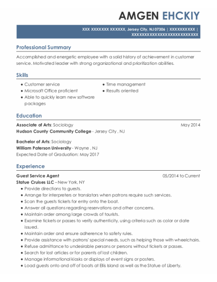 Guest Service Agent resume format New Jersey