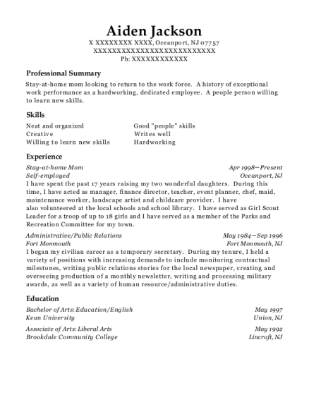 Stay at home Mom resume format New Jersey