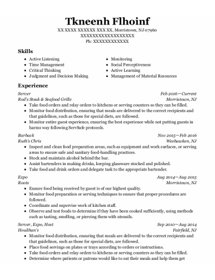 Barback resume format New Jersey