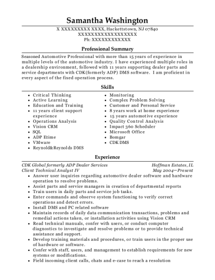 Client Technical Analyst IV resume example New Jersey