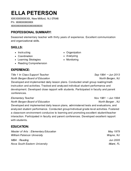 Title 1 In Class Support Teacher resume sample New Jersey