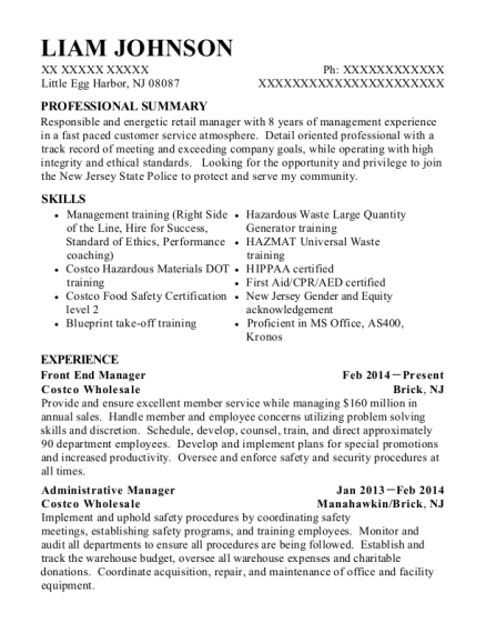Front End Manager resume sample New Jersey