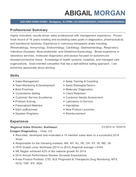 Regional Sales Director resume template New Jersey