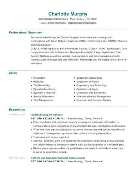 Technical Support Manager resume format New Jersey