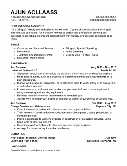 Job Foreman resume template New Jersey