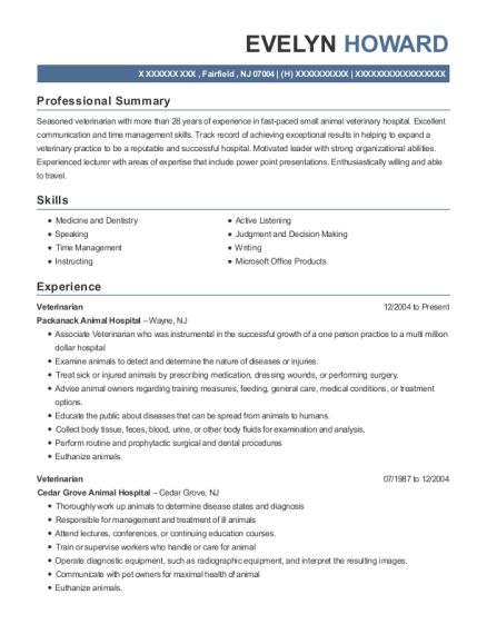 Veterinarian resume sample New Jersey